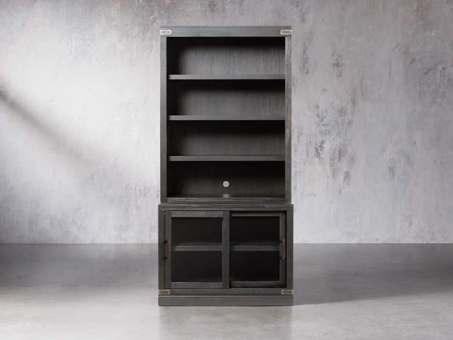 "Tremont Modular 40"" Bookcase Top and Cabinet Base in Dry Branch Black"
