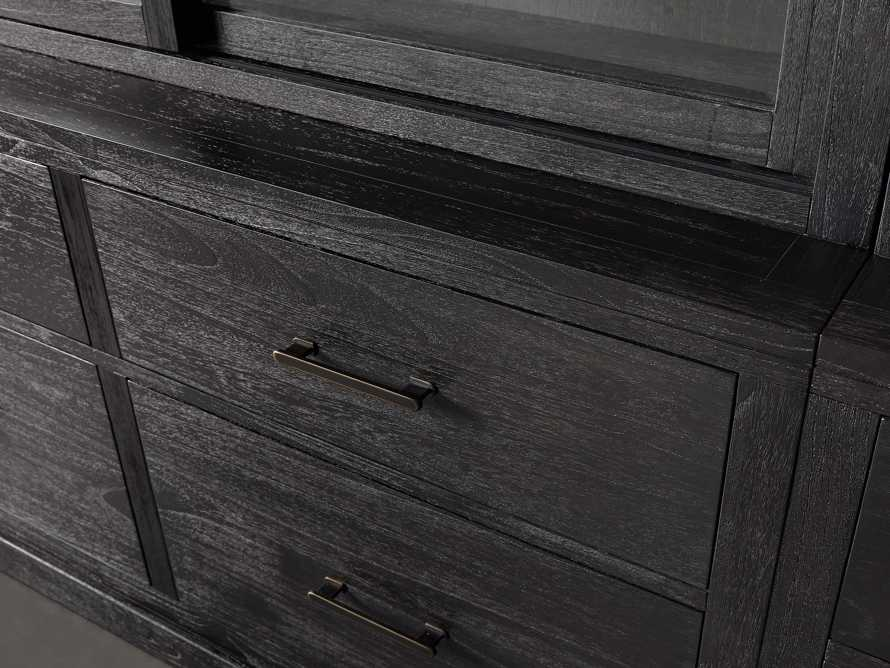 "Tremont 180"" Triple Cabinet with Brass Handles in Dry Branch Black, slide 3 of 4"