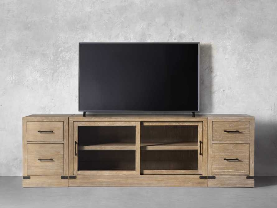 """Tremont Modular 100"""" Media Console with Brass Handles in DRY BRANCH NATURAL"""