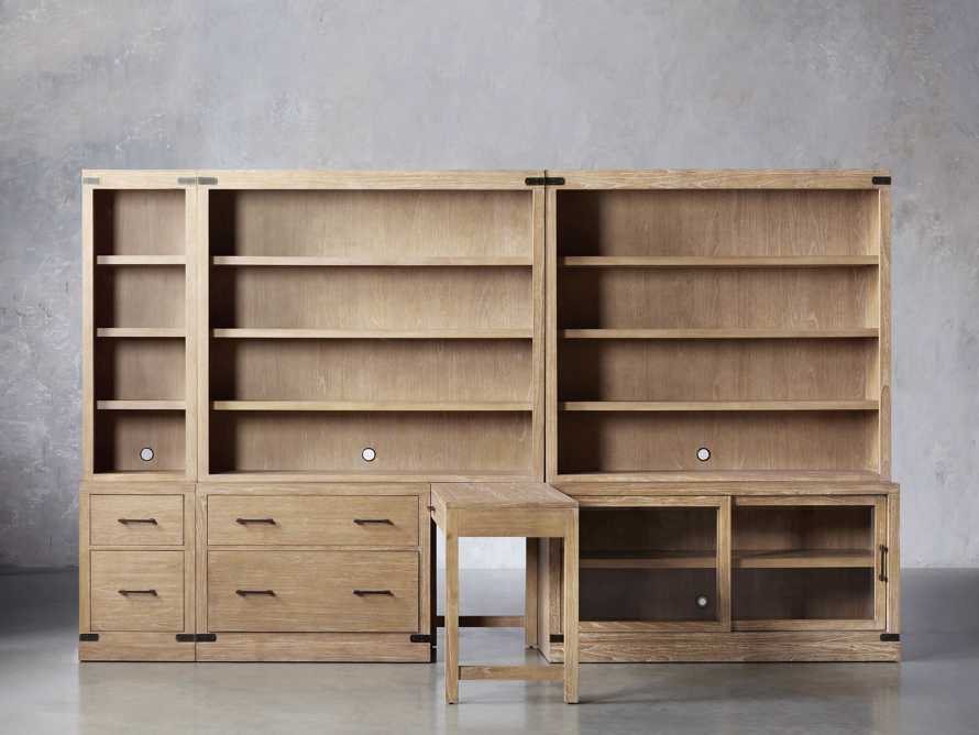 """Tremont Modular 140"""" Library Workspace in Dry Branch Natural, slide 1 of 4"""