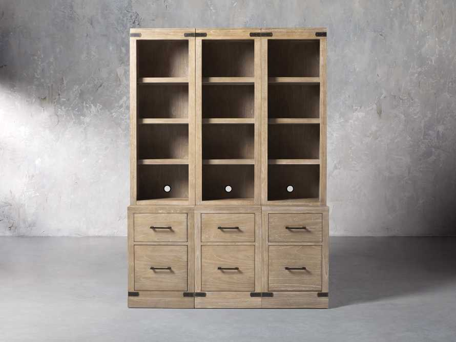 "Tremont Modular 60"" Triple Bookcase with Brass Handles in DRY BRANCH NATURAL, slide 1 of 9"