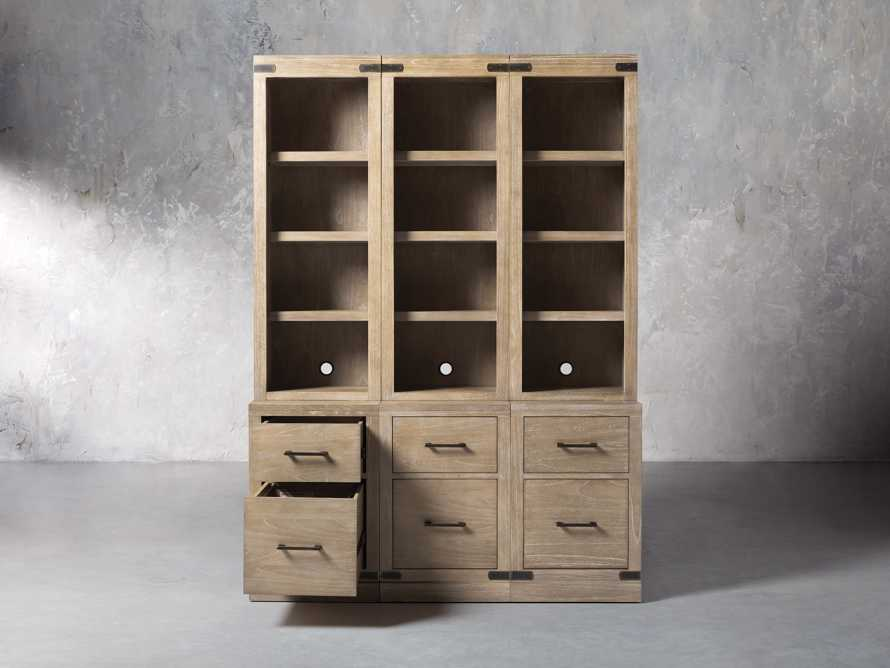 "Tremont Modular 60"" Triple Bookcase with Brass Handles in DRY BRANCH NATURAL, slide 2 of 9"