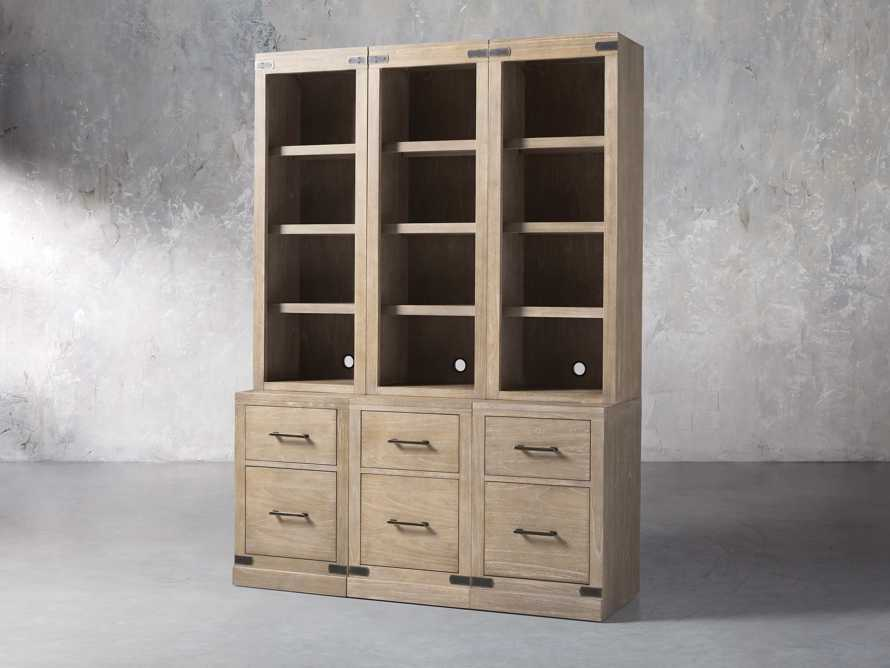 "Tremont Modular 60"" Triple Bookcase with Brass Handles in DRY BRANCH NATURAL, slide 3 of 9"