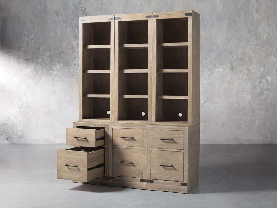 """Tremont Modular 60"""" Triple Bookcase with Brass Handles in DRY BRANCH NATURAL"""