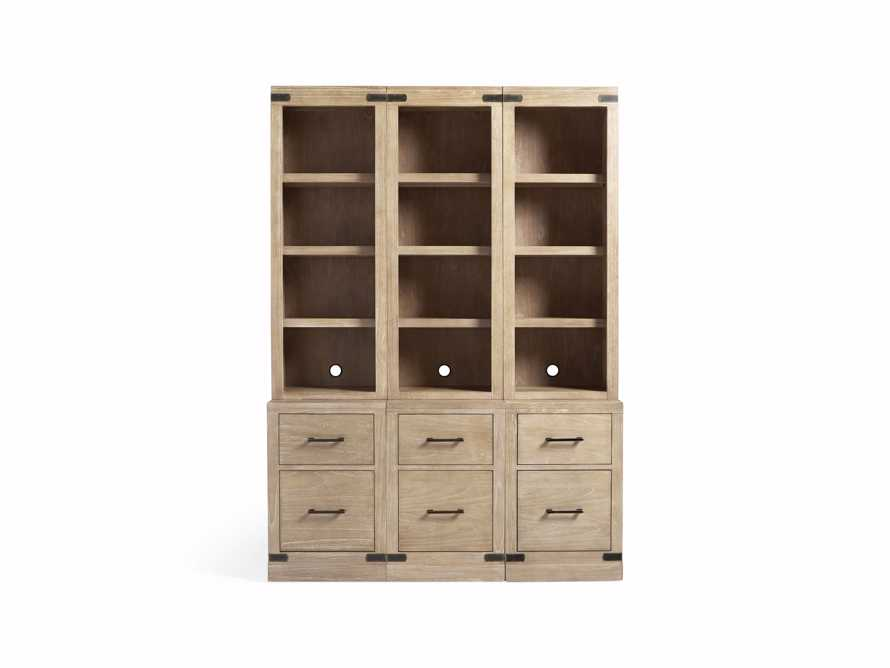 "Tremont Modular 60"" Triple Bookcase with Brass Handles in DRY BRANCH NATURAL, slide 8 of 9"