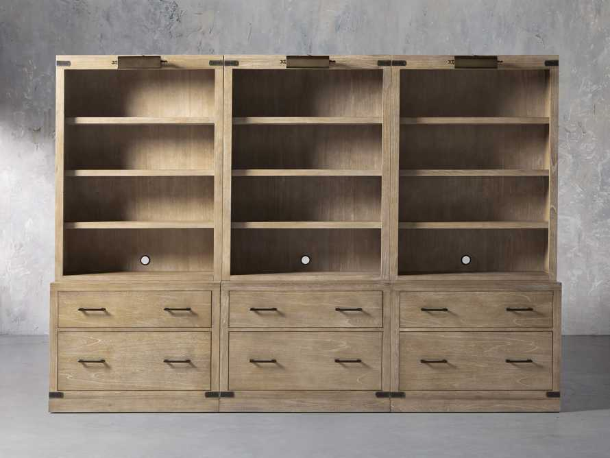 """Tremont Modular 120"""" Triple Bookcase with Brass Handles in DRY BRANCH NATURAL, slide 1 of 12"""
