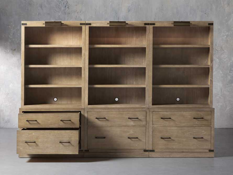 """Tremont Modular 120"""" Triple Bookcase with Brass Handles in DRY BRANCH NATURAL, slide 2 of 12"""