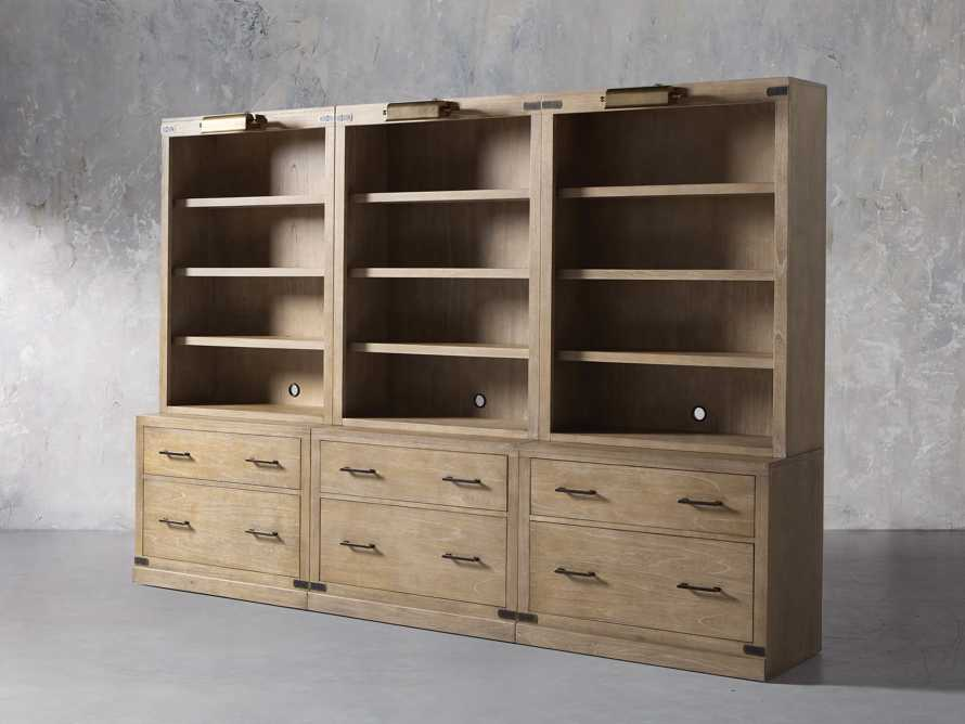 """Tremont Modular 120"""" Triple Bookcase with Brass Handles in DRY BRANCH NATURAL, slide 3 of 12"""