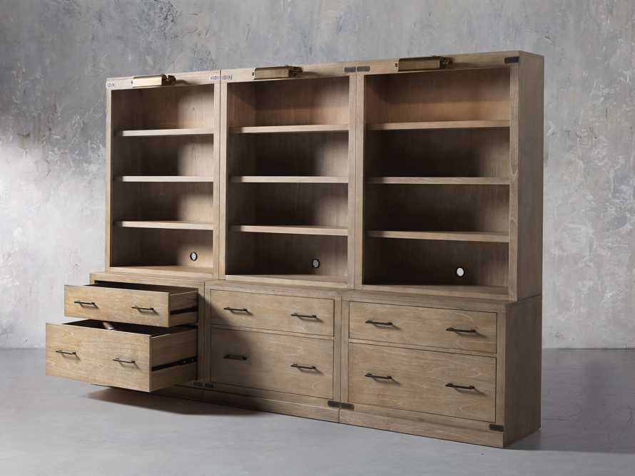"""Tremont Modular 120"""" Triple Bookcase with Brass Handles in DRY BRANCH NATURAL, slide 4 of 12"""