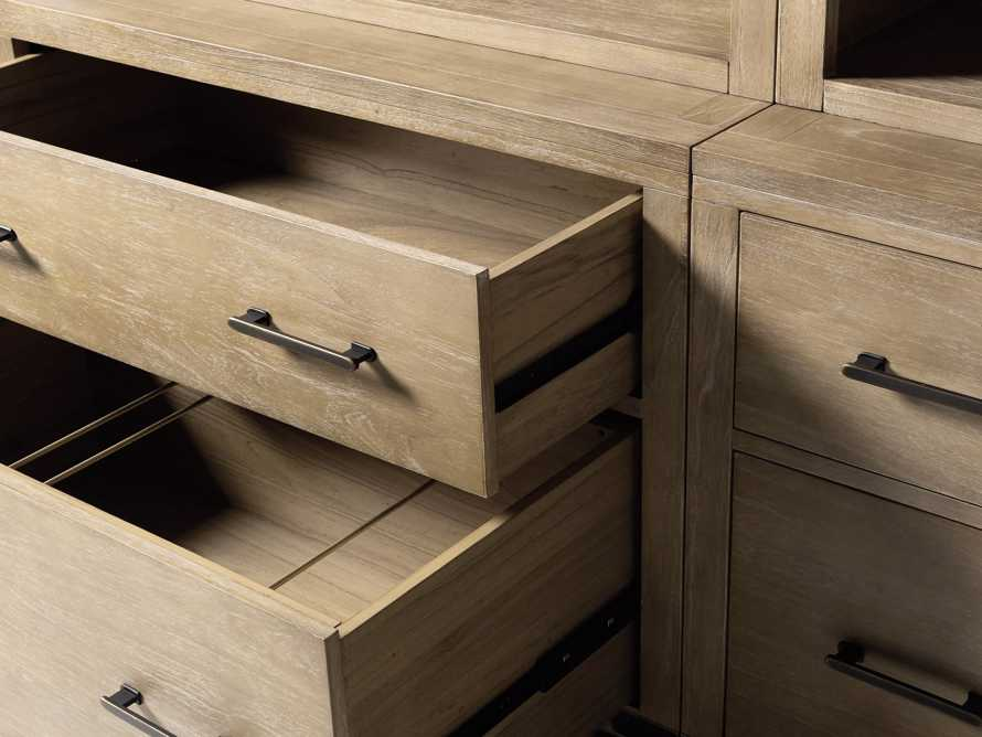"""Tremont Modular 120"""" Triple Bookcase with Brass Handles in DRY BRANCH NATURAL, slide 8 of 12"""
