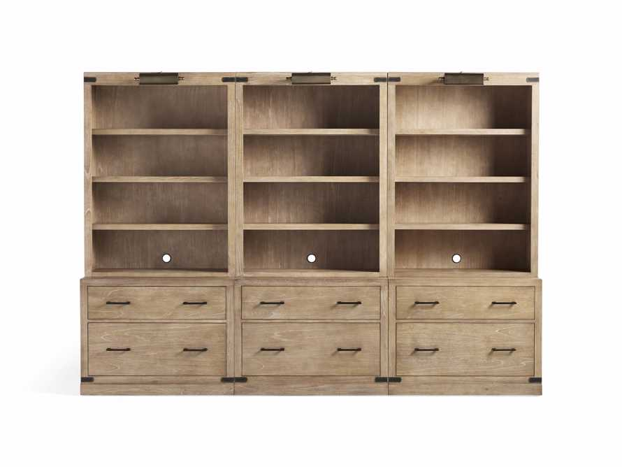 """Tremont Modular 120"""" Triple Bookcase with Brass Handles in DRY BRANCH NATURAL, slide 11 of 12"""
