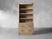"""Tremont Modular 40"""" Bookcase with Brass Handles in DRY BRANCH NATURAL"""
