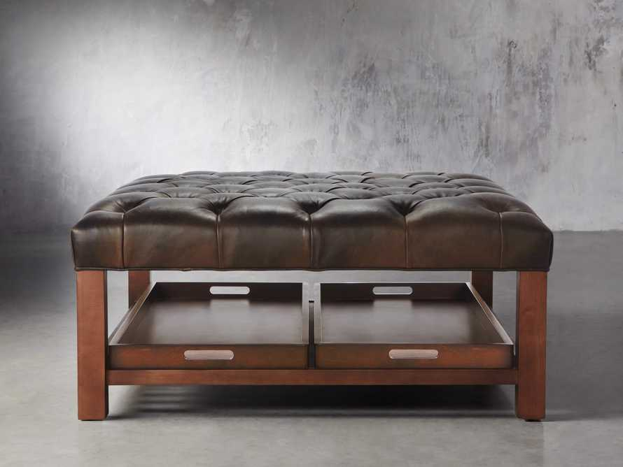 "Butler Leather 39"" Tufted Ottoman with Trays, slide 1 of 2"