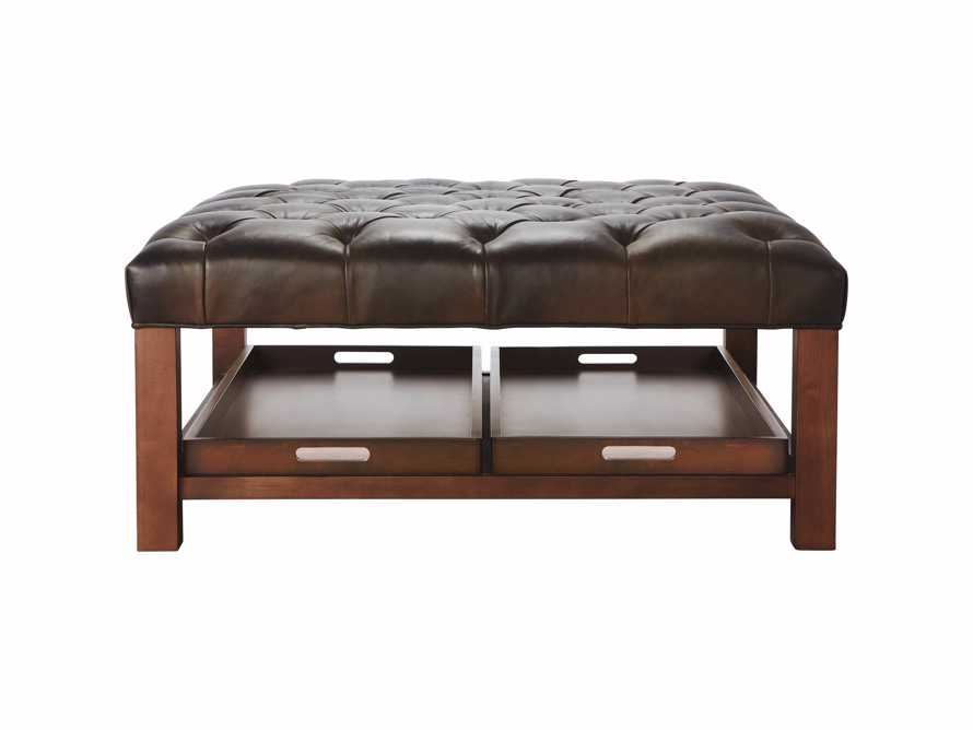 "Butler Leather 39"" Tufted Ottoman with Trays"