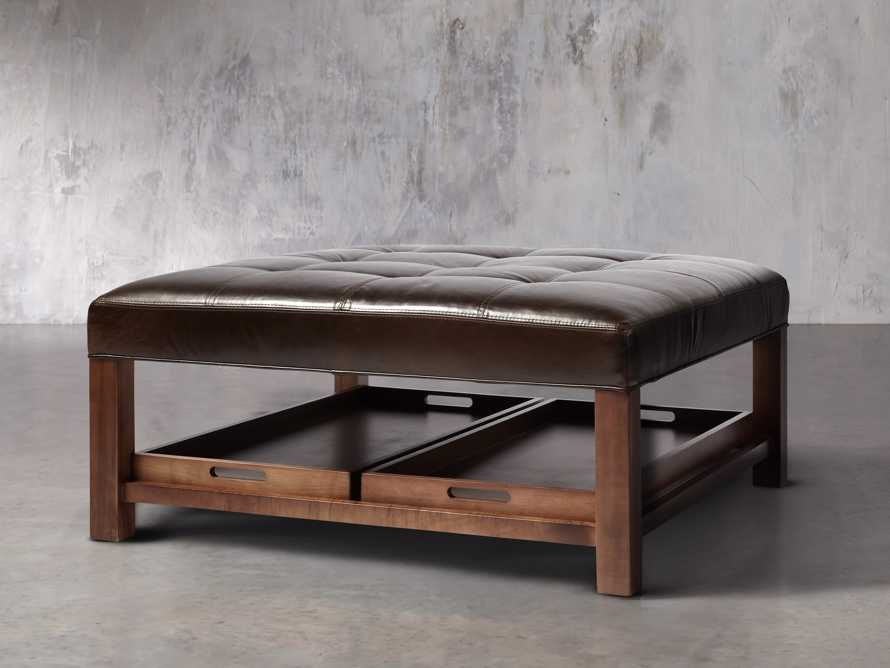 "Butler Leather 39"" Biscuit Tufted Ottoman, slide 2 of 4"