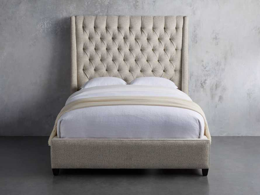 "Devereaux Queen 70"" Upholstered Tufted Bed in Plush Linen, slide 2 of 7"