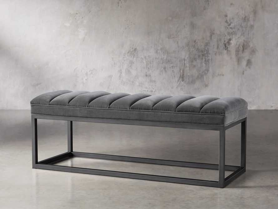 """Edie 55"""" Bench in Gibson Flannel and Rough Black Iron, slide 2 of 5"""