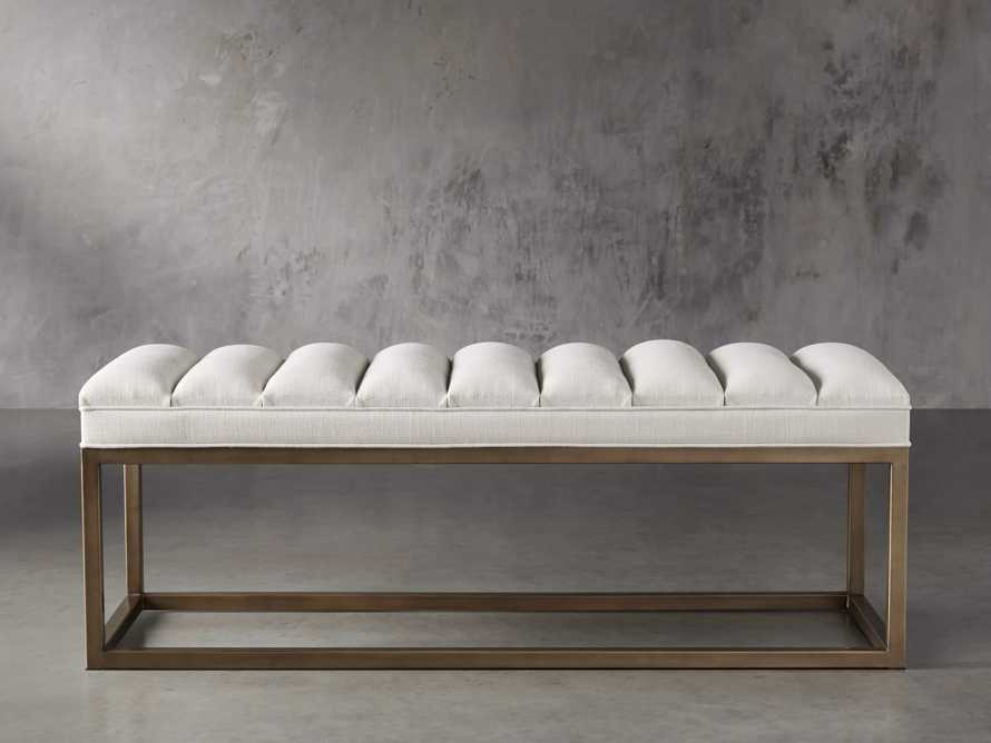 "Edie 55"" Bench in Devere Ivory and Brass, slide 2 of 7"