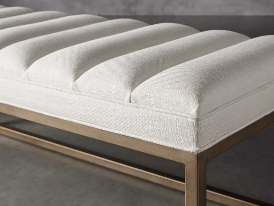 "Edie 55"" Bench in Devere Ivory and Brass, slide 3 of 7"