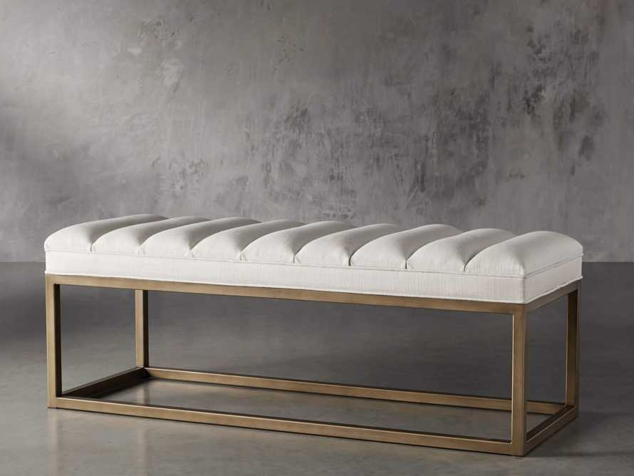 "Edie 55"" Bench in Devere Ivory and Brass, slide 4 of 7"