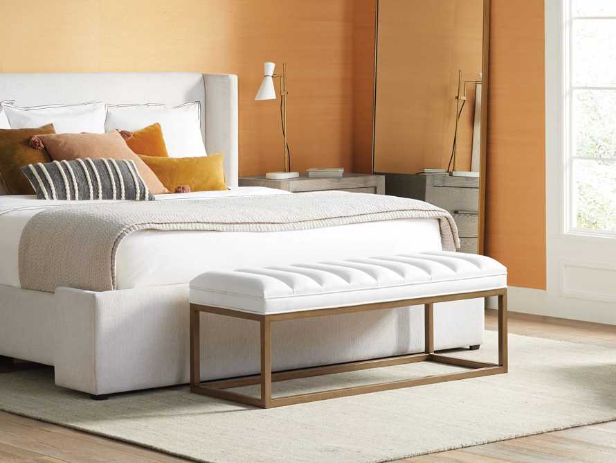 "Edie 55"" Bench in Devere Ivory and Brass, slide 1 of 9"