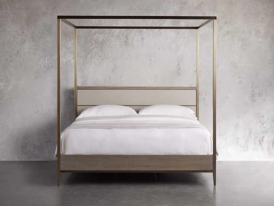 "Malone 84"" King Canopy Bed in Shagreen Bone, slide 3 of 7"