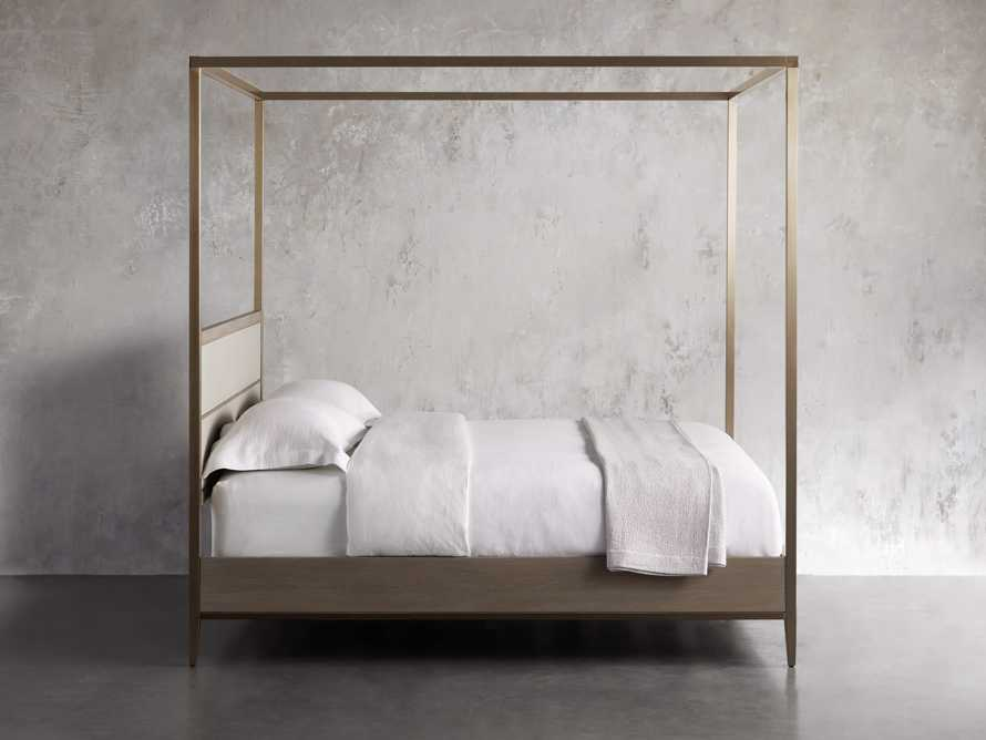 "Malone 84"" King Canopy Bed in Shagreen Bone, slide 4 of 7"