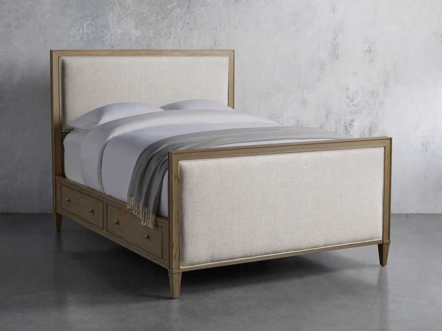 "Pearson Upholstered 57"" King Gallery Storage Bed in Basa Natural, slide 2 of 5"