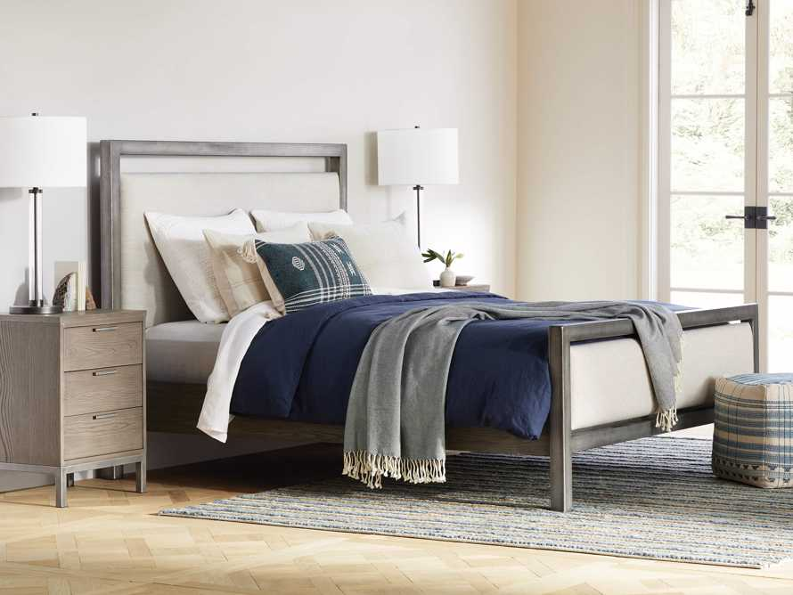 Palmer Queen Upholstered Bed in Tolliver Cream and Pewter, slide 1 of 7
