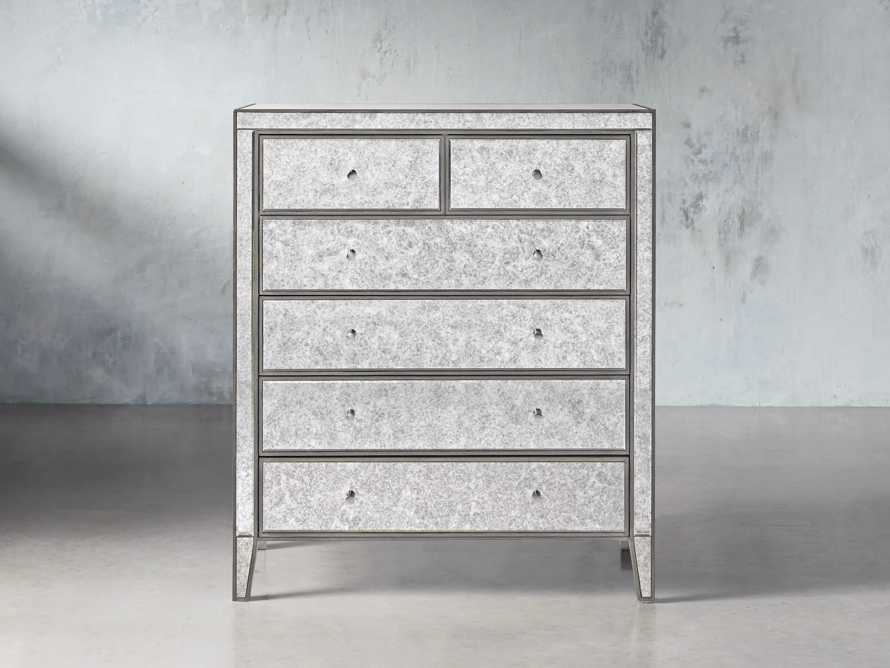 Reese Antique Mirrored Tall Chest, slide 1 of 7