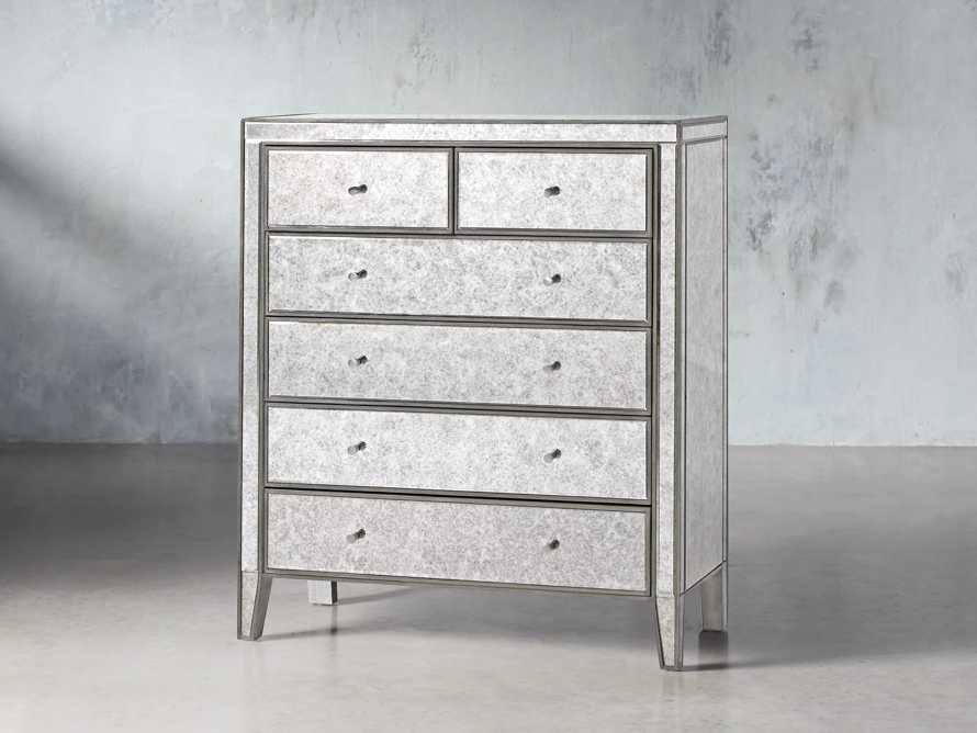 Reese Antique Mirrored Tall Chest, slide 2 of 7