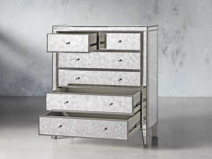 Reese Antique Mirrored Tall Chest, slide 3 of 7