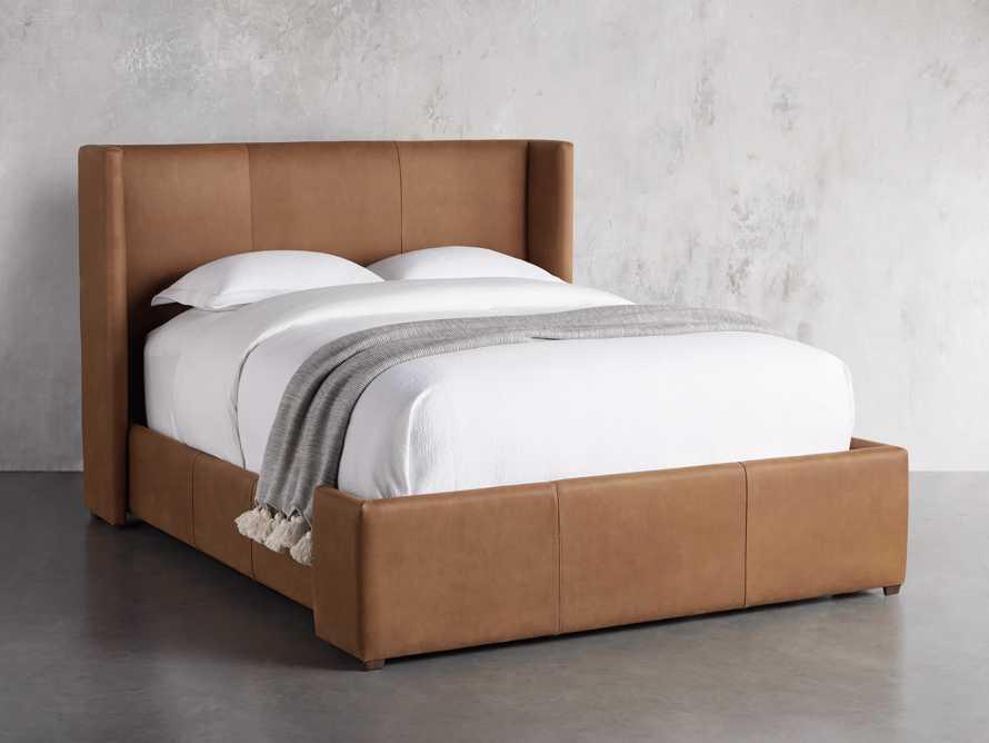 """Wyller Leather 52"""" King Bed in Lukas Pecan, slide 1 of 7"""