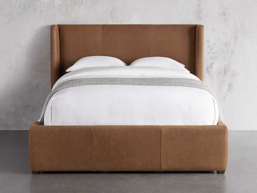 """Wyller Leather 52"""" King Bed in Lukas Pecan, slide 2 of 7"""