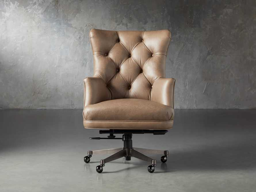 "Addy Leather 27"" Desk Chair in Dolimiti Rocky, slide 1 of 9"
