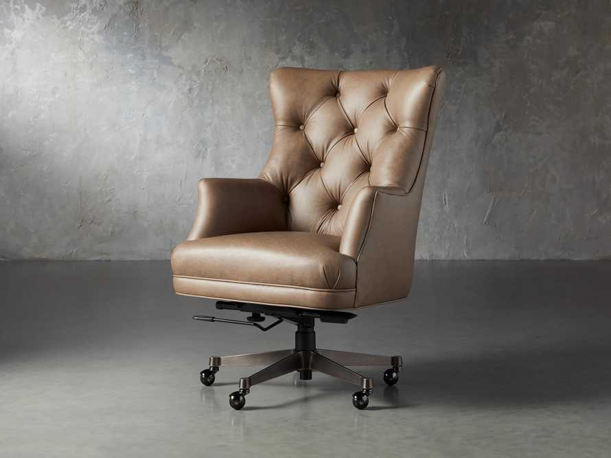 "Addy Leather 27"" Desk Chair in Dolimiti Rocky, slide 2 of 9"