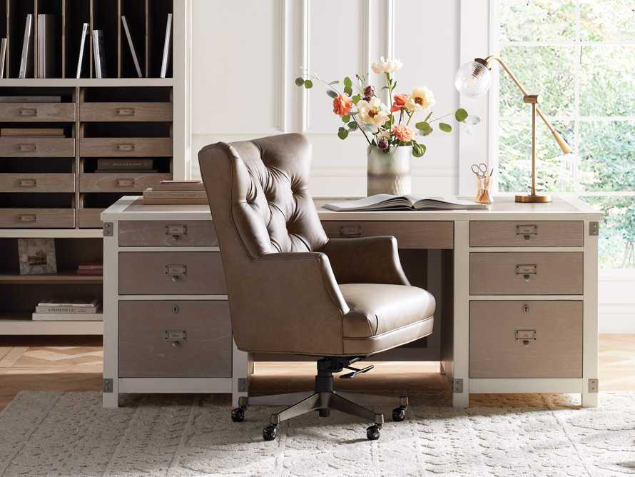 """Addy Leather 27"""" Desk Chair in Dolimiti Rocky, slide 1 of 10"""