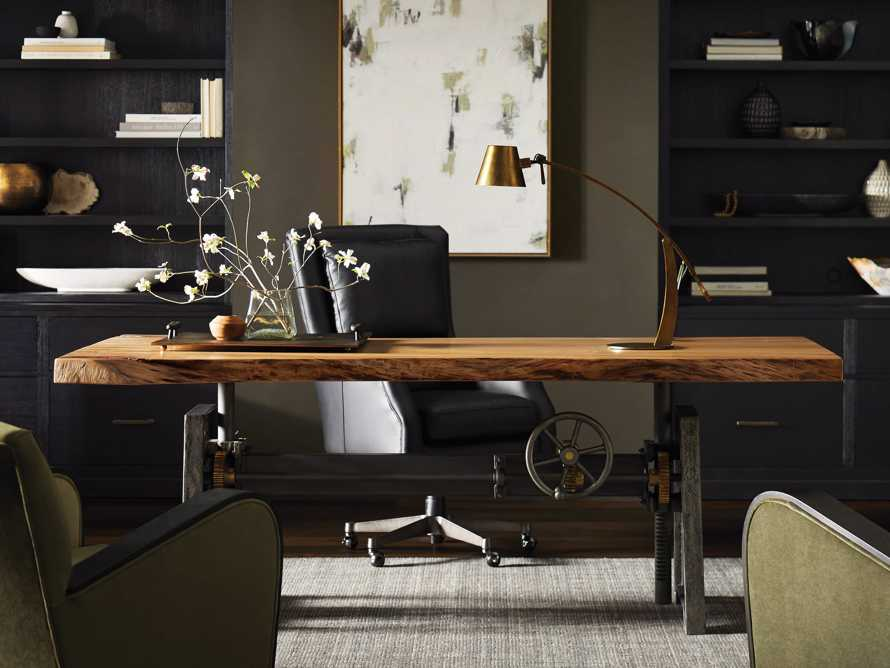 "Alex Leather 33"" Desk Chair in Black, slide 10 of 12"
