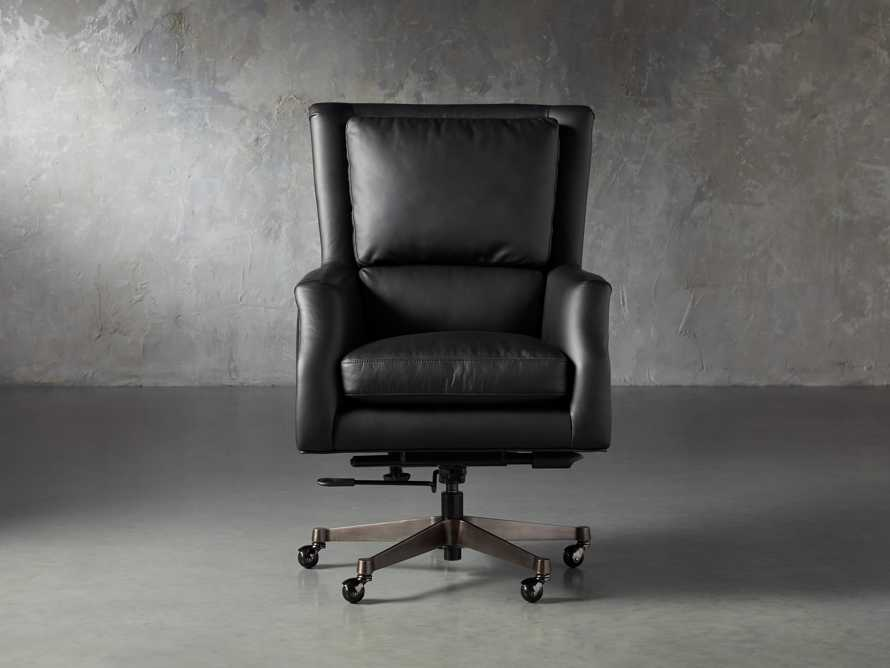 "Alex Leather 33"" Desk Chair in Black, slide 2 of 11"
