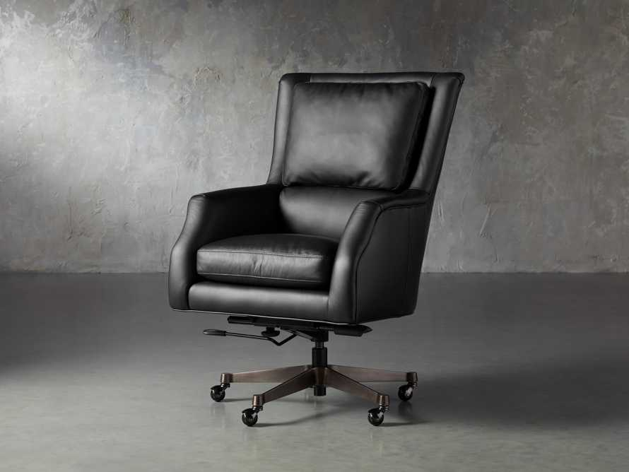 "Alex Leather 33"" Desk Chair in Black, slide 3 of 11"