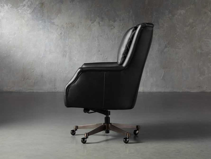 "Alex Leather 33"" Desk Chair in Black, slide 4 of 11"