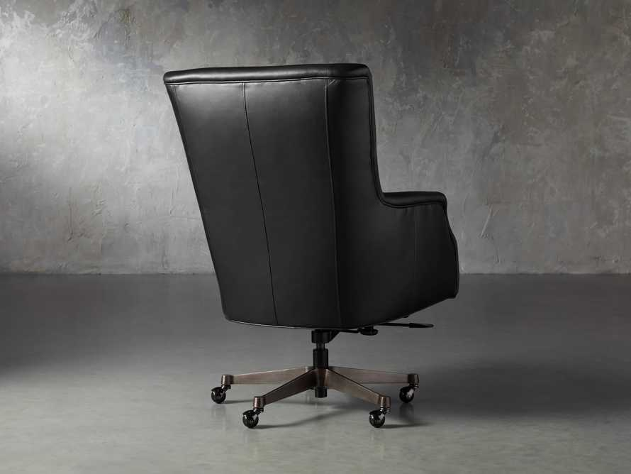 "Alex Leather 33"" Desk Chair in Black, slide 5 of 11"