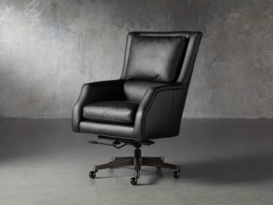 "Alex Leather 33"" Desk Chair in Black, slide 6 of 11"