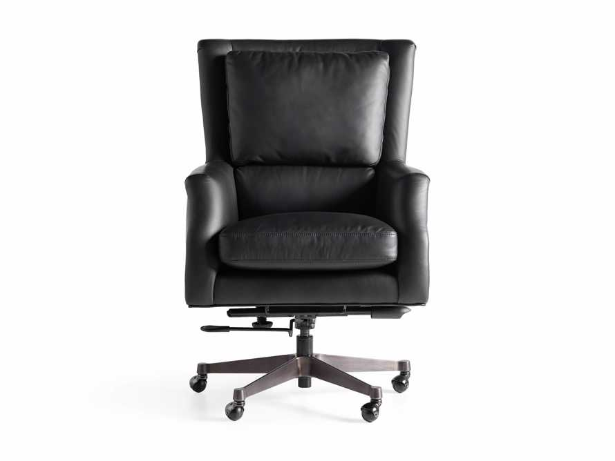 "Alex Leather 33"" Desk Chair in Black, slide 10 of 11"