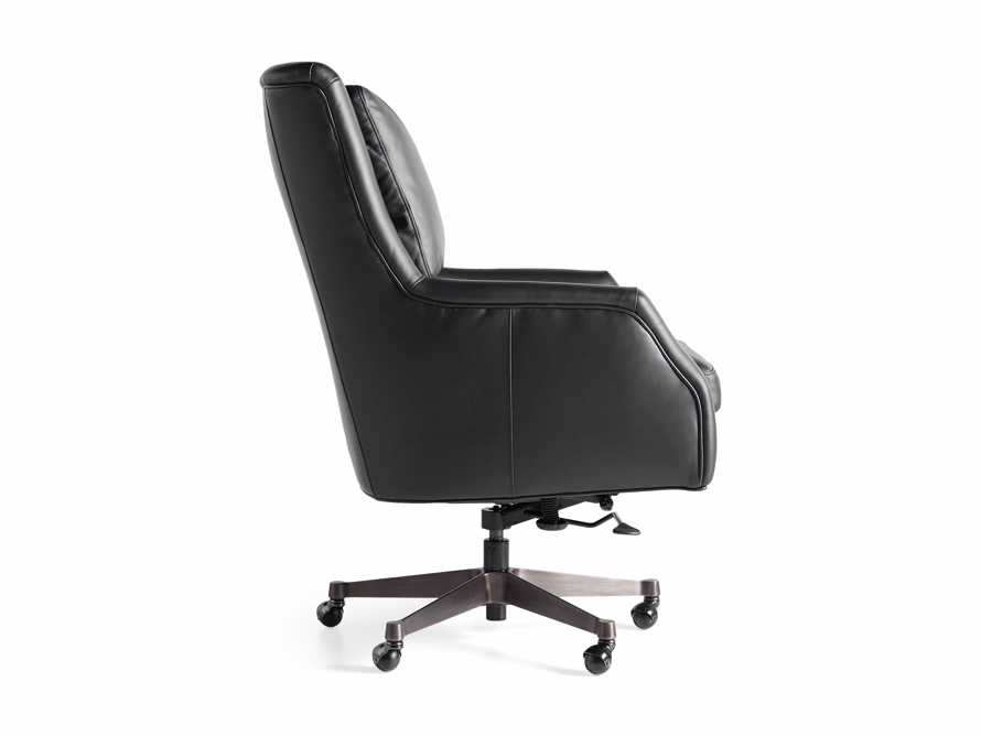 "Alex Leather 33"" Desk Chair in Black, slide 11 of 11"