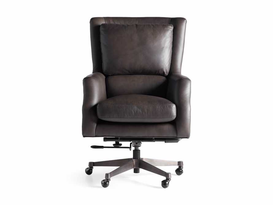 "Alex Leather 33"" Desk Chair in Brown, slide 8 of 9"