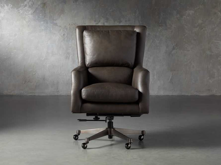 "Alex Leather 33"" Desk Chair in Brown, slide 1 of 9"