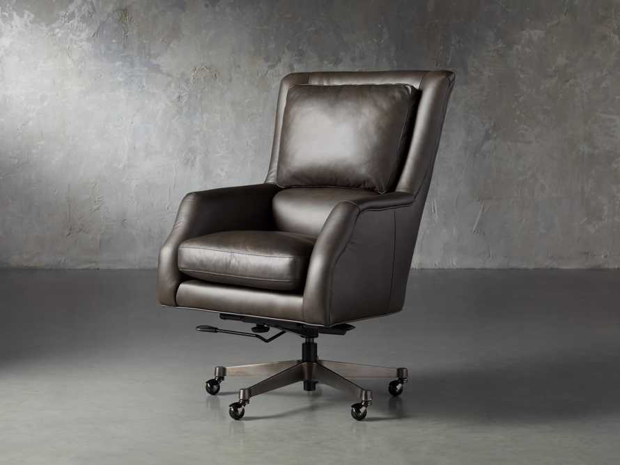 "Alex Leather 33"" Desk Chair in Brown, slide 2 of 9"