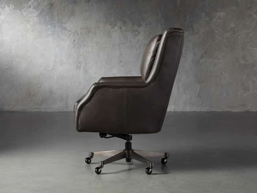 "Alex Leather 33"" Desk Chair in Brown, slide 3 of 9"