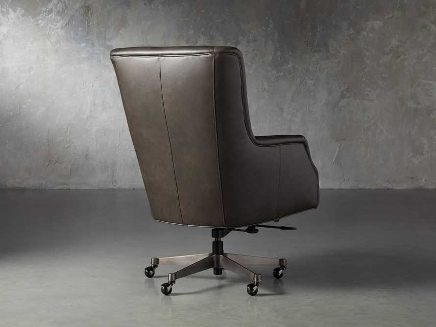 "Alex Leather 33"" Desk Chair in Brown, slide 4 of 9"